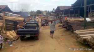 Workers seen at Akim timber market, Calabar, Cross River State